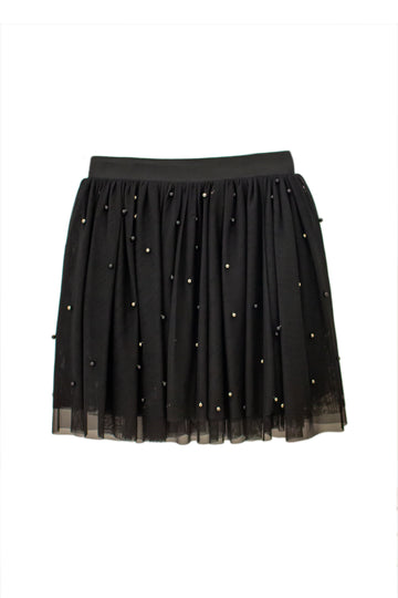 FUN & FUN Black Skirt Chiffon with Pearl Detail