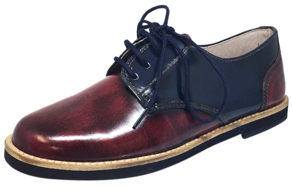 Hoo Shoes Boy's and Girl's Mark's Smooth Patent Leather Navy Burgundy Red Dual Color Lace Up Oxford Shoe