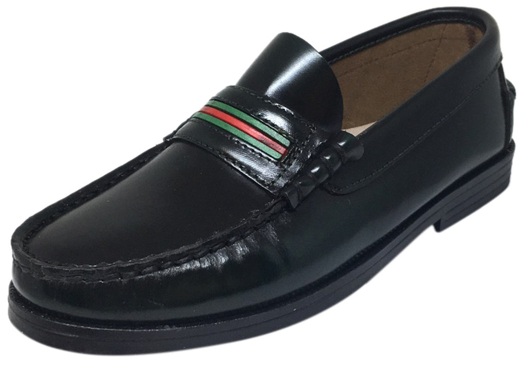 Hoo Shoes Boy's and Girl's Mark's Black Smooth Leather Red Green Striped Slip On Oxford Loafer Shoe