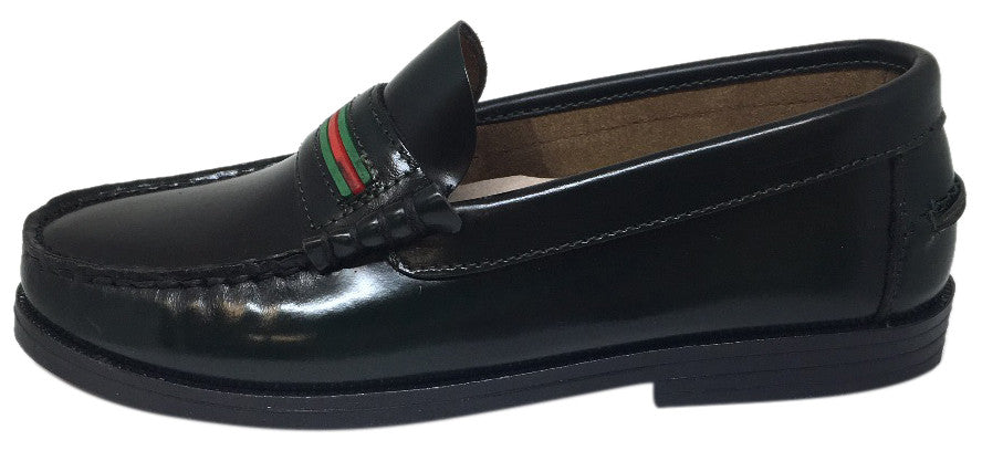 Hoo Shoes Boy's and Girl's Mark's Dark Green/Black  Smooth Leather Red Green Striped Slip On Oxford Loafer Shoe