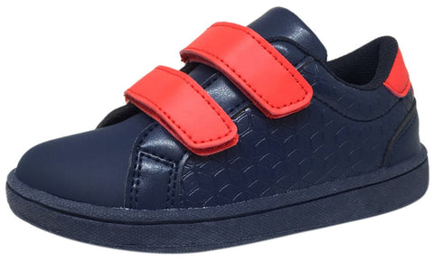 The Brooklyn Original Boy's and Girl's Sneaker in Navy Blue with Red