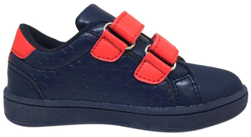 The Brooklyn Original Boy's and Girl's Sneaker in Navy Blue with Red Double Straps