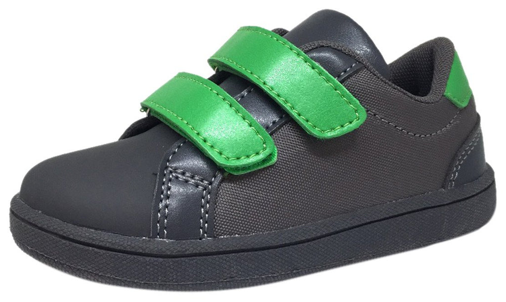 My Brooklyn The Original Boy's and Girl's Sneaker in Grey with Green Double Straps