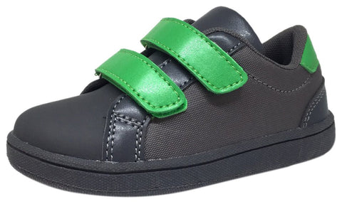 The Brooklyn Original Boy's and Girl's Sneaker in Grey with Green Double Straps