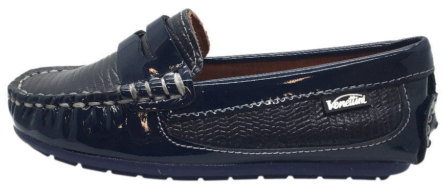 Venettini Boy's Mystic Textured Leather Patent Trim Slip On Moccasin Loafer