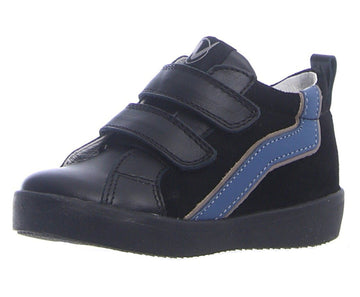 Naturino Boy's & Girl's Karrie Vl Vitello/Velour Sneaker Shoes - Nero/Azzurro