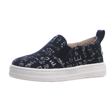 Naturino Girl's & Boy's Prato Canvas Math Print Slip On Sneaker Shoe - Black