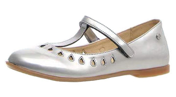 Naturino Girl's Cosenza T-Strap with cut-outs Ballet Flat, Silver