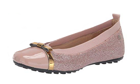 Naturino Girl's Gold Bow Slip-On Elastic Band Ballet Flat, Cipria Rose