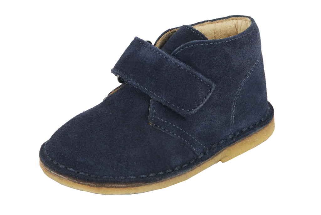 Naturino Boy's Navy Blue Smooth Suede Classic Thick Single Hook and Loop Chukka Boot