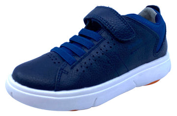 Geox Respira Boy's J Nebcup Hook and Loop Sneaker Shoes, Navy/Orange