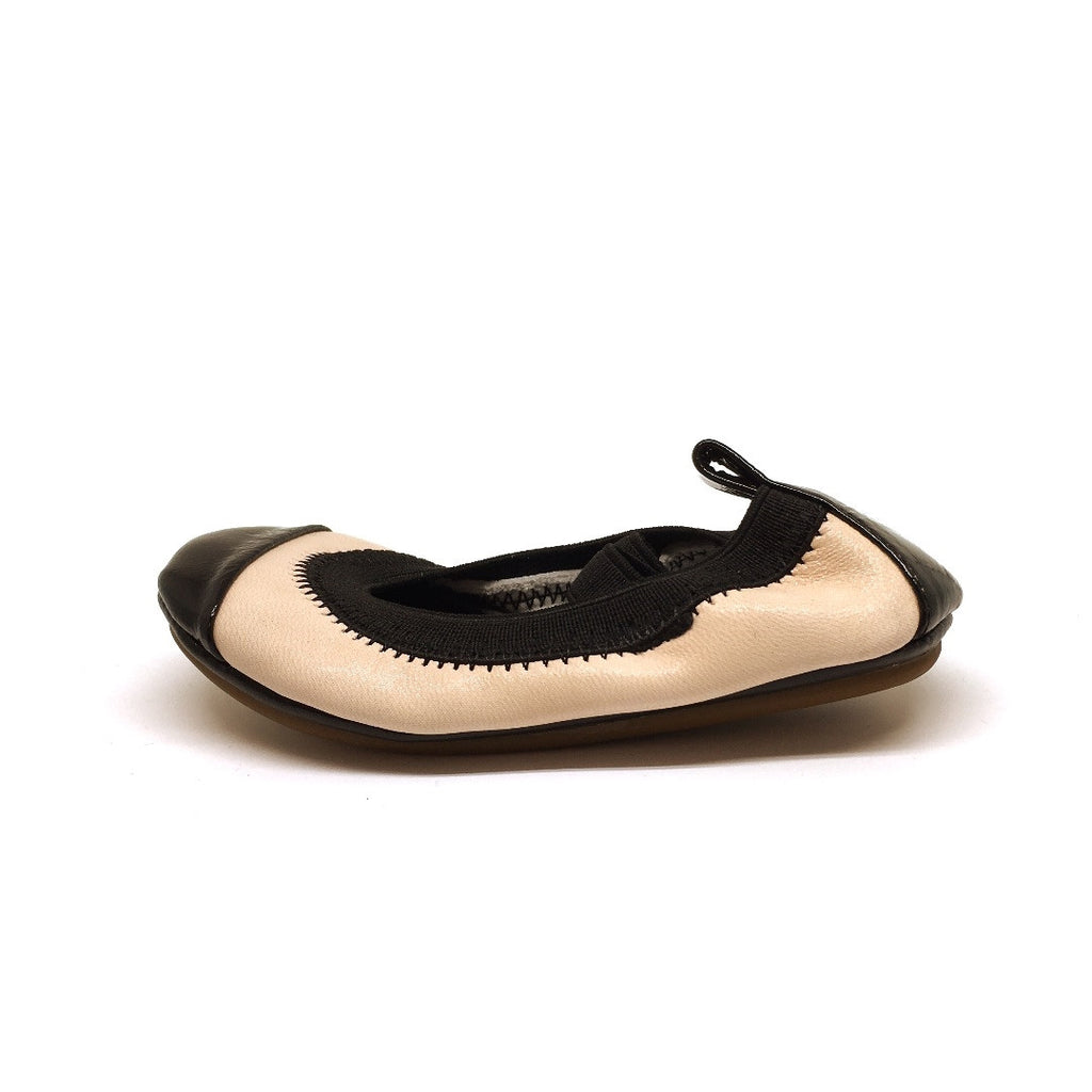 Yosi Samra Girl's Sammie Nude Smooth Leather Elastic Foldable Ballet Flats
