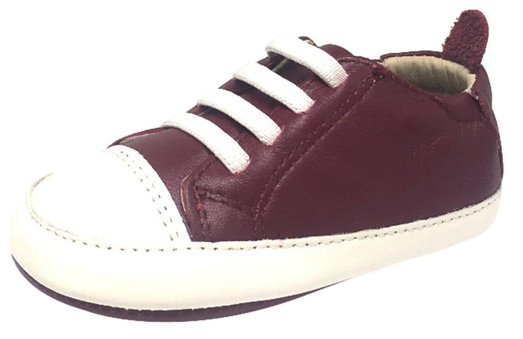Old Soles Boy's & Girl's 030 Eazy Tread Burgundy White Soft Leather Classic Slip On Baby Shoes