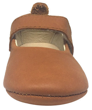 Old Soles Girl's 022 Gabrielle Tan Soft Leather Mary Jane Crib Walker Baby Shoes