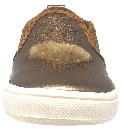 Old Soles Girl's 6016 Hoff Heart Old Gold Soft Plush Fur Heart Upper Smooth Leather Slip On Loafer Sneaker