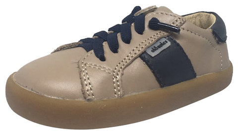 Old Soles Boy's and Girl's Legends Taupe Navy Leather Racer Stripe Elastic Lace Side Zipper Sneaker