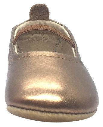 Old Soles Girl's 013 Luxury Ballet Old Gold Leather Elastic Mary Jane Flat Shoe