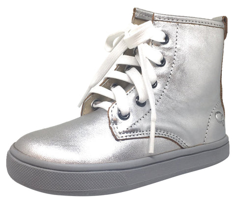 Old Soles Girl's and Boy's 6005 Swag Style Silver High Top Leather Zip Up Stretch Lace Sneaker Boot
