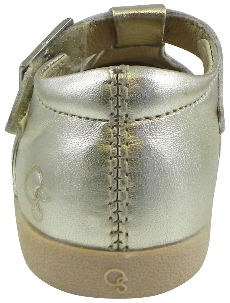 Old Soles Girl's Tea Shoe Metallic Gold Leather T-Strap Buckle Mary Jane Shoe