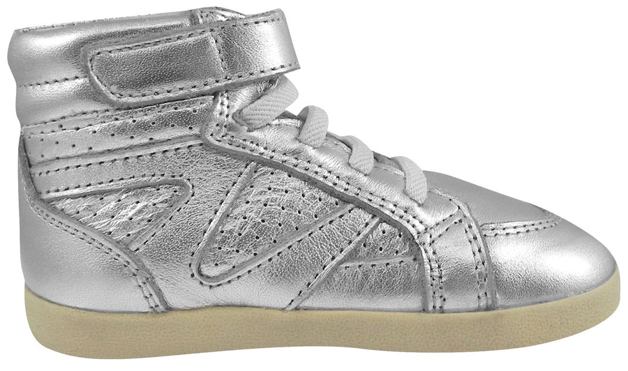 Old Soles Girl's and Boy's 329 Cheer Leader Silver Leather High Top Hook and Loop Sneakers