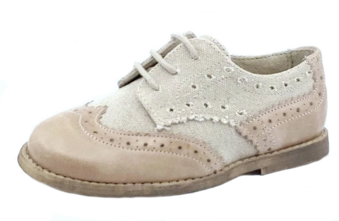 Oca-Loca Boy's 5557 Oxford Wingtip Leather Textile Dress Shoe - Beige