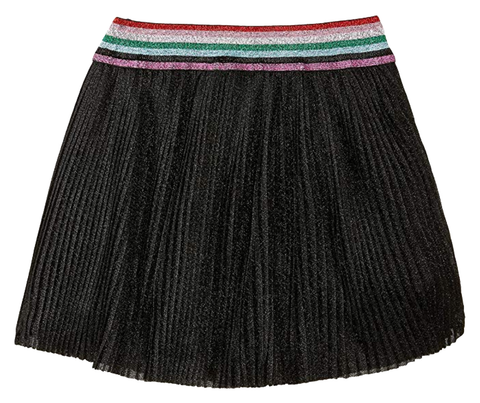 Old Soles Lurex Pleated Skirt Black