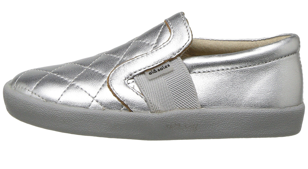 Old Soles Girl's and Boy's My Quilt Silver Stitch Elastic Band Leather Slip On Loafer Sneaker