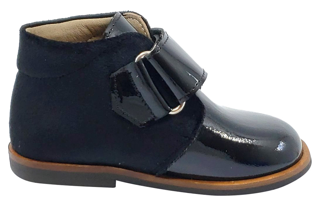 Pataletas for Boy's and Girl's Charol Black Leather Velvet Hook and Loop Closure Bootie