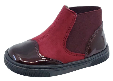 Pataletas for Boy's and Girl's Burgundy Leather Patent Suede Elastic Side Slip On Bootie