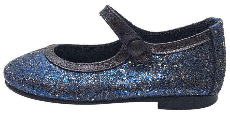 Papanatas by Eli Girl's Blue Charcoal Grey Trim Sparkle Mary Janes Button Flats