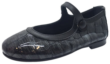 Papanatas by Eli Girl's Patent Leather Charcoal Grey Design Mary Janes Button Flats
