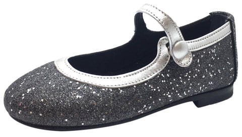 Papanatas by Eli Girl's Charcoal Grey Silver Trim Sparkle Mary Janes Button Flats