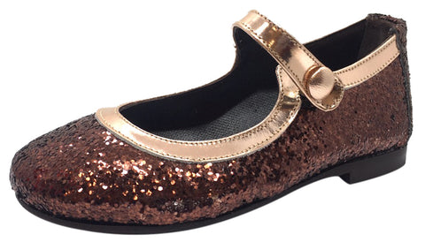 Papanatas by Eli Girl's Copper Brown Brass Trim Sparkle Mary Janes Button Flats