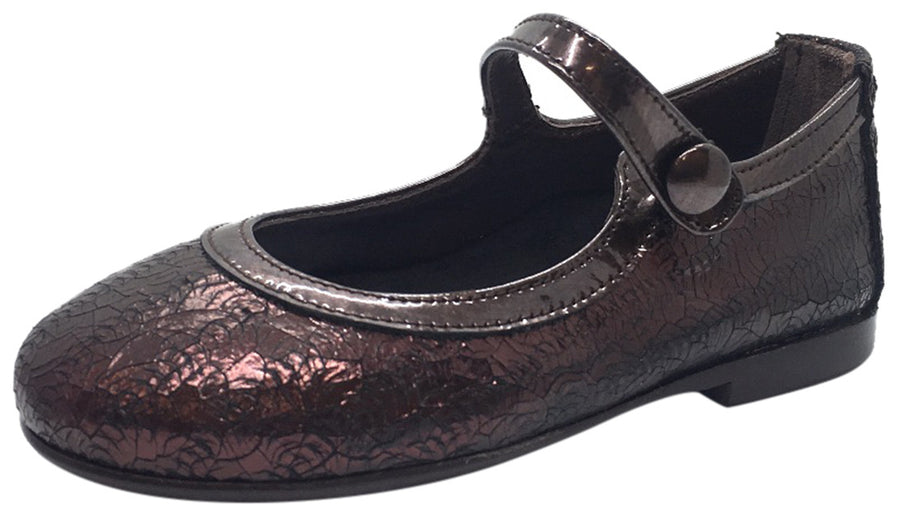 Papanatas by Eli Girl's Dark Copper Burgundy Cracked Design Mary Janes Button Flats