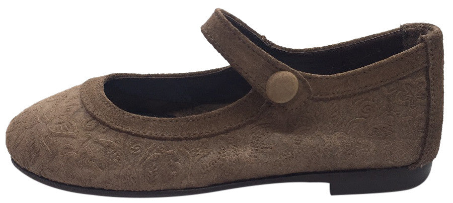 Papanatas by Eli Girl's Light Brown Suede Floral Design Mary Janes Button Flats