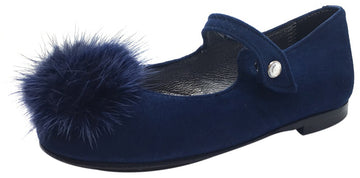 Papanatas by Eli Girl's Soft Suede Royal Navy Blue Gem Pom Pom Mary Janes Button Flats