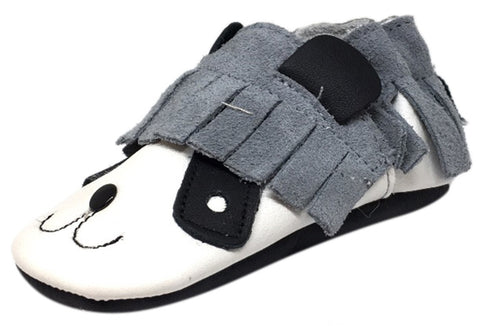 ShooShoos Boy's & Girl's Soft Leather Suede Fringe Slip On Elastic Fun Panda Animal Character Baby Crib Shoe