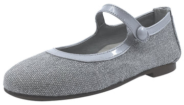 Papanatas by Eli Girl's Silver Metallic Linen with Patent Trim Mary Jane Flats