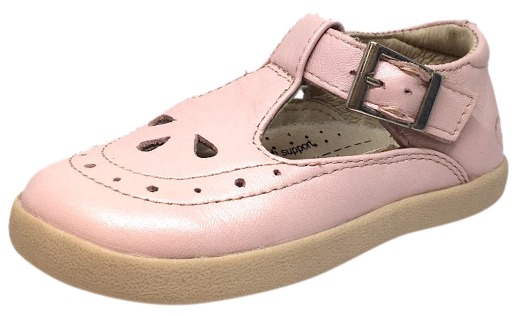 Old Soles Girl's Tea Shoe Pink Leather T Strap Buckle Mary Jane Shoe