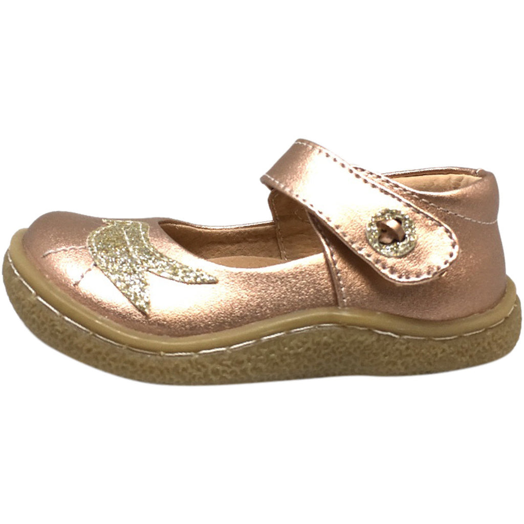Livie & Luca Girl's Pio Pio Leather Shimmer Dove Hook and Loop Mary Jane Shoes Rose Gold - Just Shoes for Kids  - 2