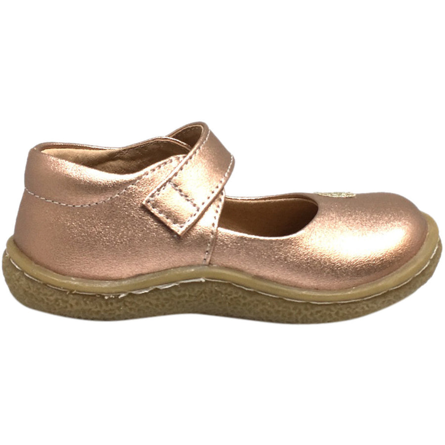 Livie & Luca Girl's Pio Pio Leather Shimmer Dove Hook and Loop Mary Jane Shoes Rose Gold - Just Shoes for Kids  - 3