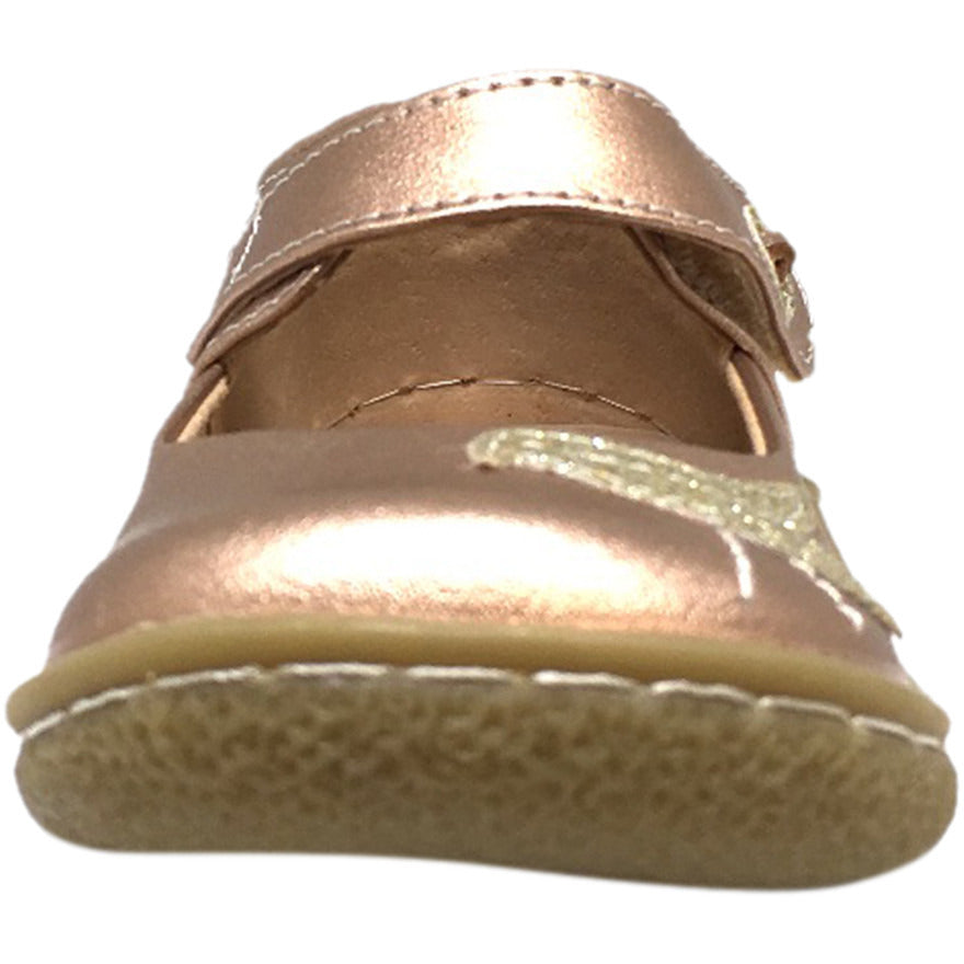 Livie & Luca Girl's Pio Pio Leather Shimmer Dove Hook and Loop Mary Jane Shoes Rose Gold - Just Shoes for Kids  - 4