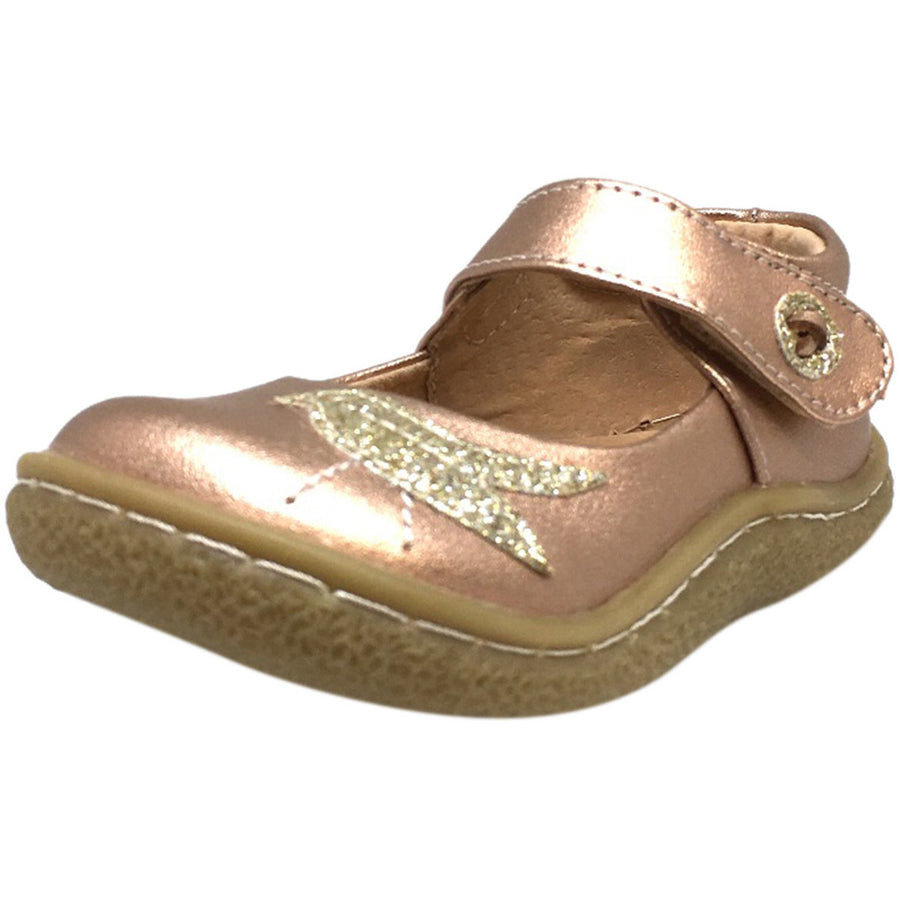 Livie & Luca Girl's Pio Pio Leather Shimmer Dove Hook and Loop Mary Jane Shoes Rose Gold - Just Shoes for Kids  - 1