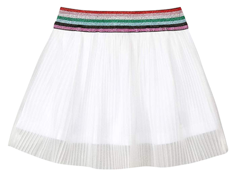 Old Soles Lurex Pleated Skirt White