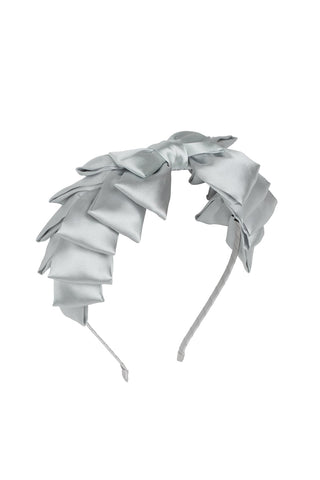 Project 6 NY Light Silver Pleated Ribbon Headband