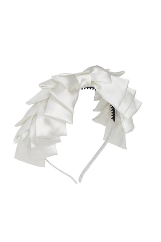 Project 6 NY White Pleated Ribbon Headband