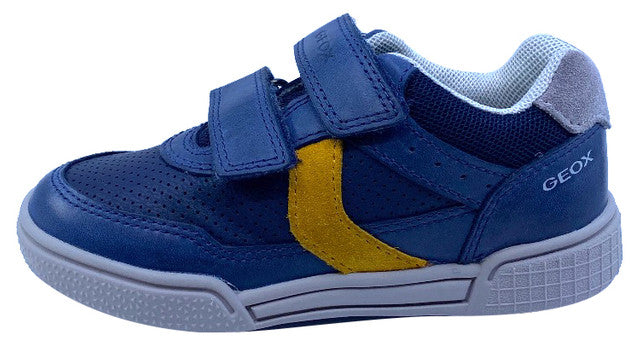 Geox Respira Boy's J Poseido Double Hook and Loop Sneaker, Navy/Dark Yellow