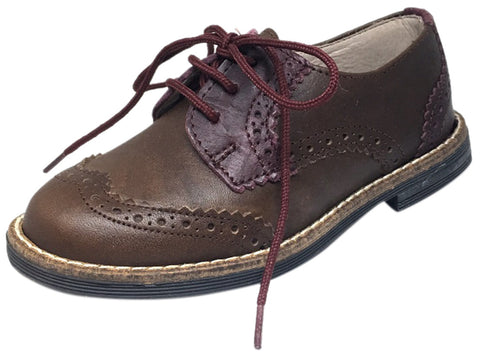 Hoo Shoes Boy's and Girl's Ralph's Brown Maroon Smooth Leather Lace Up Platform Tip Oxford Shoe