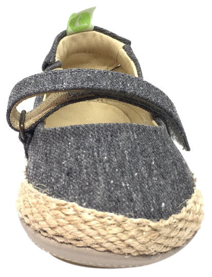 Tip Toey Joey Girl's Sambaky Grey Canvas Beeswax Embroidered Honey Bee Hook and Loop Mary Jane Flat