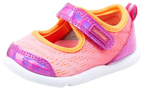 Step & Stride Innes Pink Mesh Metallic Hook and Loop Mesh Mary Jane Sneaker Baby Shoe